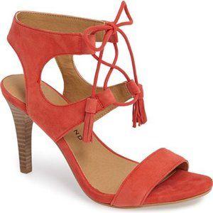 New Lucky Apricot Saffron Leather Sandal Heels 6 M